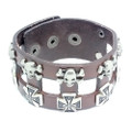 Mens Brown Leather Biker Cuff Bracelet with Vintage Silver Crosses and Skulls