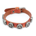 Mens Brown Leather Biker Bracelet with Vintage Silver Plated Iron Crosses