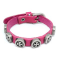 Mens Red Leather Biker Bracelet with Vintage Silver Plated Iron Crosses