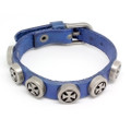 Mens Blue Leather Biker Bracelet with Vintage Silver Plated Round Cross Studs