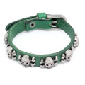 Dark Green Leather Biker Bracelet Vintage Silver Plated Skull Cross Bones