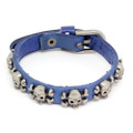 Dark Blue Leather Biker Bracelet Vintage Silver Plated Skull Cross Bones