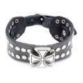 Mens Black Leather Cuff Biker Bracelet Vintage Cross Round Studs