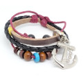 Unisex Leather Braid Multi Strand Bracelet Vintage Anchor Charm
