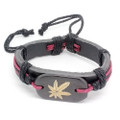 Mens Black Leather Adjustable Bracelet with Red String Accents and Leaf Bead