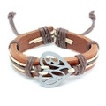"Unisex Brown Leather Adjustable ""Love"" Heart Cuff"