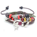 Unisex Brown Leather Adjustable Multi Strand Bracelet Angel Charm