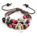 Unisex Unique Brown Leather Adjustable Multi Strand Bracelet Key Charm