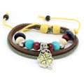 Unisex Brown Leather Adjustable Multi Strand Bracelet Shamrock