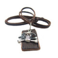 Genuine Adjustable Leather Necklace with Antique Skull and Cross Bones