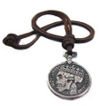 Genuine Adjustable Leather Necklace with Antique Skull Coin Pendant