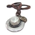 Genuine Adjustable Leather Necklace with Cowboy Hat Pendant
