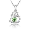Crystal Heart Charm Pendant Necklace with CZ Stones Inlay, Green Color