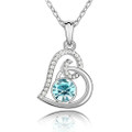 Crystal Heart Charm Pendant Necklace with CZ Stones Inlay, Light Blue Color
