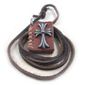 Genuine Leather Adjustable Necklace, Cross Accented Book Pendant