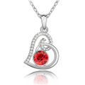 Crystal Heart Charm Pendant Necklace with CZ Stones Inlay, Red  Color