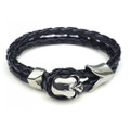 Mens Black Leather Bracelet with Silver Skull Closure Accent