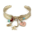 Fashionable Gold Bangle Charm Bracelet- Cute!!