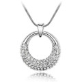 Elegant Round Shape Pendant, Clear Crystal Women Necklace FREE  Chain