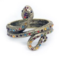 Fashion Serpent Bangle Cuff Bracelet with Multi-colored Crystal Accents- Super Nice!