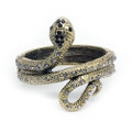 Fashion Serpent Bangle Cuff Bracelet with Black Crystal Accents- Super Cute!