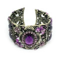Fashion Floral Bangle Cuff Bracelet with Purple Crystal Accents- Super Cute!