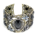 Fashion Floral Bangle Cuff Bracelet with Black Crystal Accents- Super Nice!