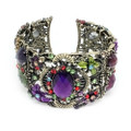 Fashion Floral Bangle Cuff Bracelet with Multi-colored Crystal Accents- Lovely!!