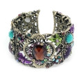 Fashion Floral Bangle Cuff Bracelet with Dazzling Crystal Accents- Cute!