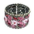 Fashion Flower Bangle Cuff Bracelet with Red Crystal Accents- Super Cute!