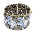 Fashion Flower Bangle Cuff Bracelet with Blue and Gray Crystal Accents- Super Cute!