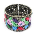 Fashion Flower Bangle Cuff Bracelet with Multi-colored Crystal Accents- Adorable!