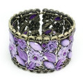 Fashion Flower Bangle Cuff Bracelet with Purple Crystal Accents- Super Cute!