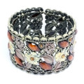 Fashion Flower Bangle Cuff Bracelet with Brown and Orange Crystal Accents- Super Cute!