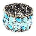Fashion Flower Bangle Cuff Bracelet with Blue and Aqua Crystal Accents- Super Cute!