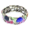 Fashion Flower Bangle Cuff Bracelet with Multi-colored Crystal Accents- Super Nice!