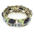 Fashion Flower Bangle Cuff Bracelet with Black Crystal Accents- Super Nice!