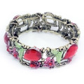 Fashion Flower Bangle Cuff Bracelet with Red Crystal Accents- Cute!