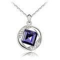 Dark Purple Crystal, Round and Middle Square Women Necklace, FREE  Chain