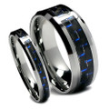 Matching Tungsten Wedding Band Set, Black and Blue Carbon Fiber