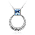 Blue Crystal Pendant, Rounded Women Necklace with Square Stone, FREE  Chain