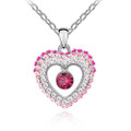 Heart Charm Crystal, Pink Women Necklace with Round Stone, FREE  Chain