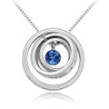 Blue Crystal Pendant, Triple Rings Women Necklace FREE  Chain