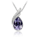 Purple Crystal Pendant, Amethyst Tear Drop Women Necklace FREE  Chain