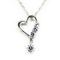 Sterling Silver Necklace, Heart Shape Charm Pendant with CZ Stones, Free Chain