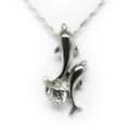 Sterling Silver Necklace, 2 Playful Dolphins with CZ Stone, Free Chain