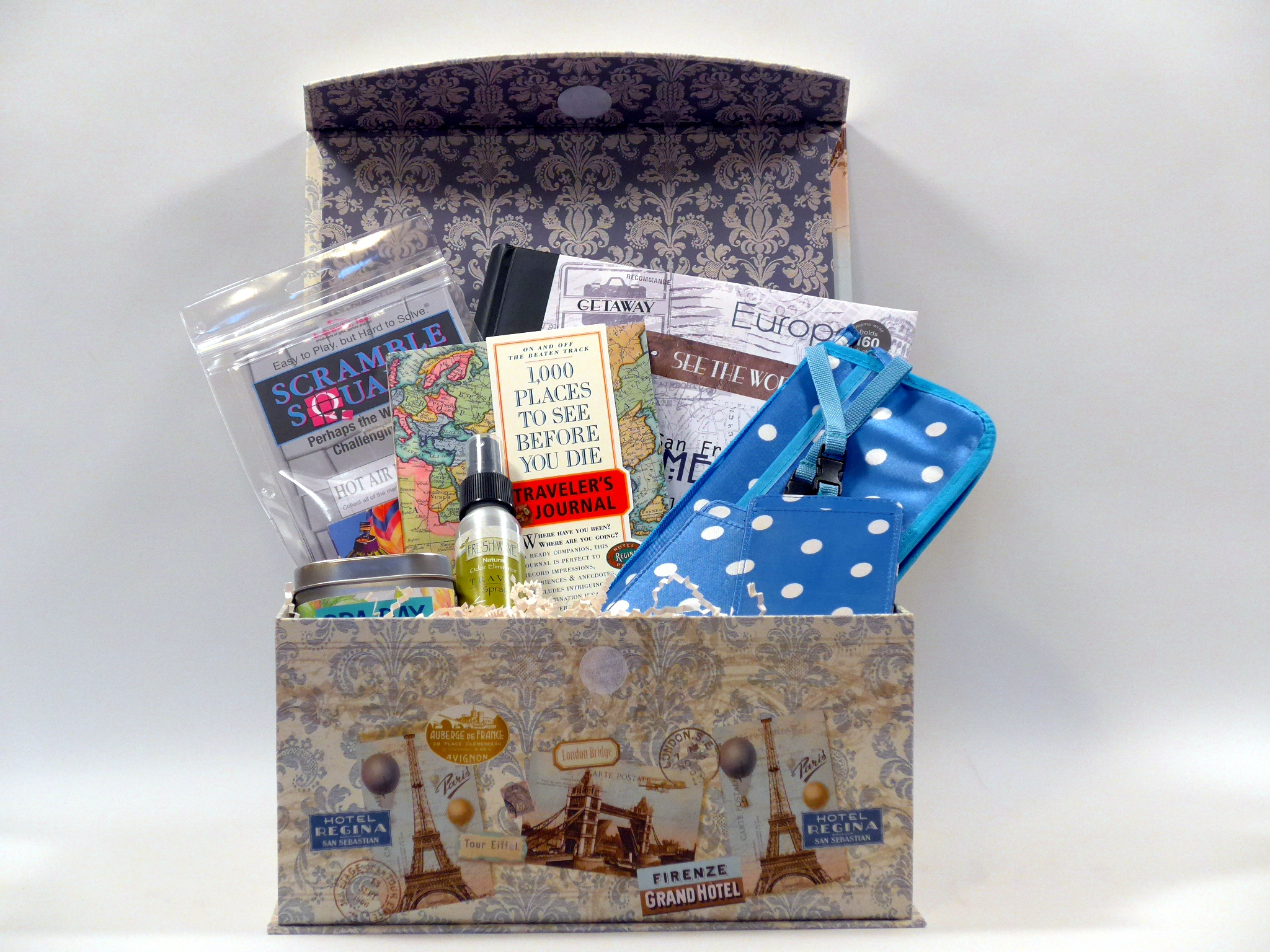 Featured product travel gift baskets for women and men for Good gifts for a traveler