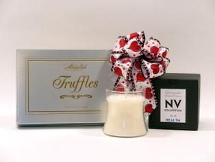 Elegant truffles and candle gift set
