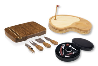 A variety of unique corporate gifts for entertaining are available, including wine sets and cheeseboards. Cheeseboards come in many designs, from the simple to the elaborate such as this golf design.