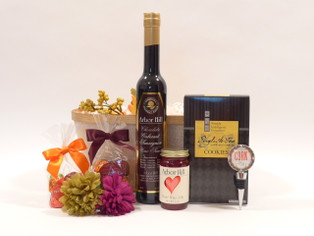 Flavors of Fall Gift Basket features Arbor Hill Chocolate Cabernet Sauvignon Wine Sauce and Abdallah chocolates for fall.